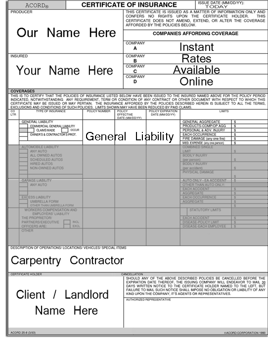 General Liability Certificate of Insurance for Carpenter